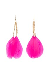 Forever 21 Neon Feather Drop Earrings Hot Pink Gold