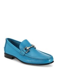 Salvatore Ferragamo Fiordi Leather Loafers Turquoise