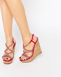 Asos Terrific Embellished Wedge Sandals Fuscia Pink
