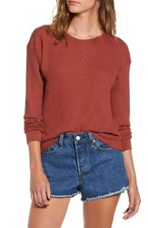 Rvca Cited Waffle Knit Pullover Top Henna