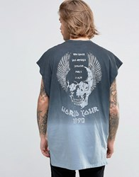 Asos Oversized T Shirt With Rock Tour Back Print And Dip Dye Wash Grey