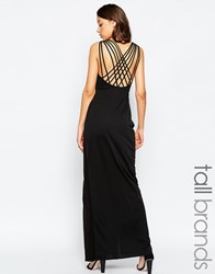 Studio 75 Tall Manna Maxi Dress With Wrap Front And Strappy Back Black