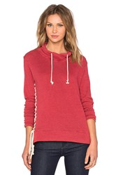 Nation Ltd. Alexis Lace Up Sweatshirt Red