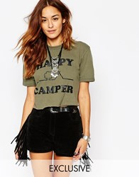 Milk It Vintage Cropped T Shirt With Happy Camper Festival Print Green
