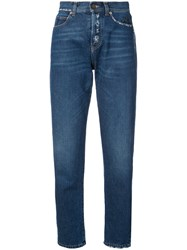 Saint Laurent Distressed Effect Tapered Jeans Cotton Blue