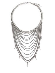 Chan Luu Sterling Silver Draped Mixed Chain Spike Bib Necklace
