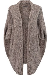 Donna Karan New York Chunky Knit Cashmere Hooded Cardigan Gray