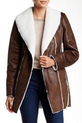 Kenneth Cole Faux Shearling Coat Brown