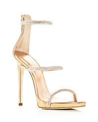 Giuseppe Zanotti Coline Metallic Swarovski Crystal High Heel Sandals Ramino Rose Gold