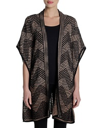Nic Zoe Plus Open Front Cardigan Brown Multi