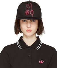 Mcq By Alexander Mcqueen Black And Pink Logo Cap