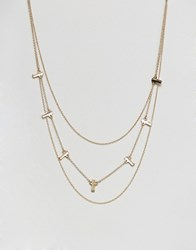 Asos Bars Multirow Necklace Gold