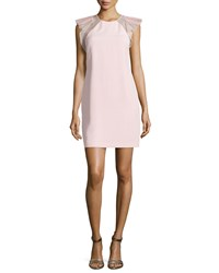 Rebecca Taylor Flutter Sleeve Shift Dress Pink
