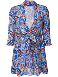Dodo Bar Or Paisley Mini Dress Women Silk 42 Blue