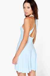 Boohoo Rachael Open Back Skater Dress Sky