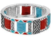 Mandf Western Tribal Double Strand Stretch Bracelet Silver Turquoise Red Bracelet Multi