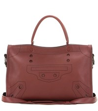 Balenciaga Blackout City Small Leather Tote Red