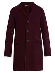 Massimo Alba Hound's Tooth Single Breasted Wool Coat Burgundy Multi
