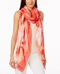 Calvin Klein Painterly Ombre Chambray Scarf And Wrap Red