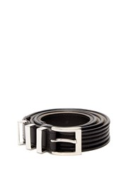 Balmain Triple Loop Leather Belt Black