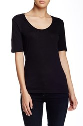 Susina Elbow Length Sleeve Scoop Neck Tee Petite Black