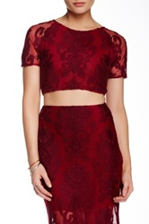 For Love And Lemons Ethereal Cropped Blouse Red