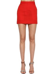 Calvin Klein 205W39nyc Side Band Wool Gabardine Mini Skirt Red