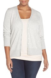 Plus Size Women's Sejour Stripe Cotton Blend V Neck Cardigan Light Grey White Stripe