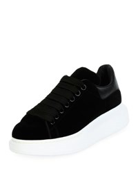 Alexander Mcqueen Velvet Low Top Wedge Sneaker Black