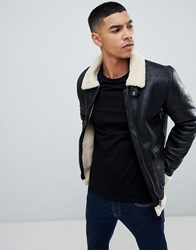 Blend Of America Aviator Jacket In Black Faux Leather With Borg Collar 70155 Black