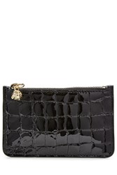 Alexander Mcqueen Embossed Leather Key Pouch Black