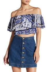Lucca Couture Off Shoulder Ruffle Top Blue