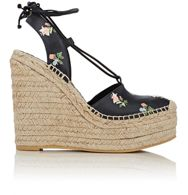 Saint Laurent Ankle Tie Espadrille Wedge Sandals Multi