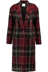 Dkny Leopard Print Embossed Checked Twill Coat Black