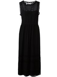 Red Valentino Long Lace Trim Dress Black
