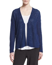 Eileen Fisher Zip Front Merino Wool Cardigan Blue Bonnet Women's