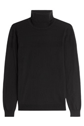 Hugo Cotton Silk Cashmere Turtleneck Pullover Black