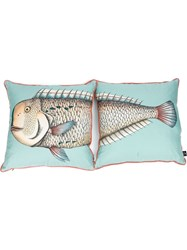 Fornasetti Printed Two Piece Pillow Set Blue