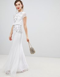 Frock And Frill Capped Sleeve Chiffon Overlay Maxi Dress With Embellished Detail White