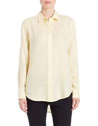 Lord And Taylor Linen Hi Low Casual Shirt Canary