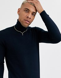 Only And Sons Roll Neck Knitted Jumper In Navy