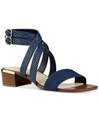 Nine West Yesta Block Heel Strappy Dress Sandals Women's Shoes Navy