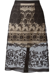 N.21 Floral Embroidered Sheer Skirt Black