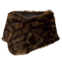 Chesca Large Faux Fur Wrap Brown Black