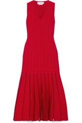 Alexander Mcqueen Pleated Ribbed Knit Midi Dress Red