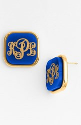 Women's Moon And Lola 'Vineyard' Personalized Monogram Stud Earrings Cobalt