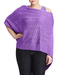 Lauren Ralph Lauren Plus Cable Knit Poncho Lilac
