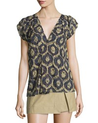 Isabel Marant Cap Sleeve Printed Lace Blouse Yellow Women's