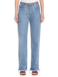 See By Chloe Frayed Boy Fit Jeans Light Blue