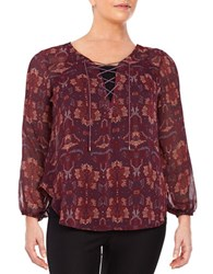 Jessica Simpson Plus Long Sleeve Lace Up Patterned Blouse Red